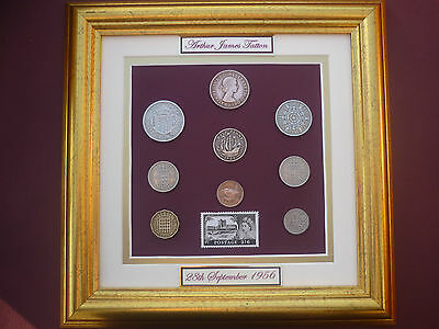 FRAMED PERSONALISED 1956 COIN SET 60th BIRTHDAY /  ANNIVERSARY GIFT IN  2016