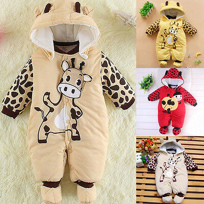 Kids Baby Girl Boy Warm Infant Romper Bodysuit Winter Hoodie Jumpsuit Clothes