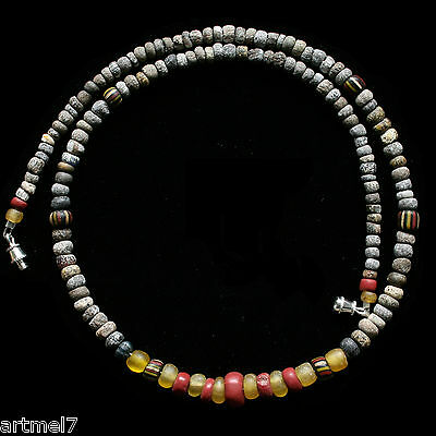 Ancient Roman Glass and Terracotta Necklace Red Yellow 4th c AD