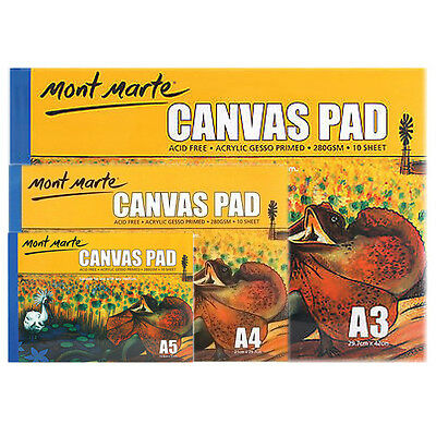 1pce Mont Marte Canvas Pad 280gsm 10 Sheets, A3 A4 A5, Sketching&Painting Paper