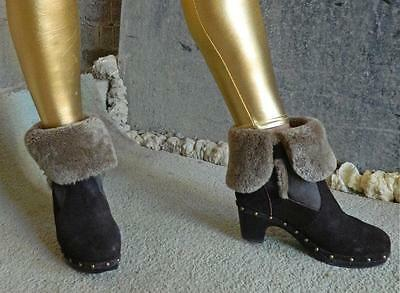 VINTAGE Emu Rock Chic Suede-Sheep Skin-Studded Ankle Boots Size 8.5-9