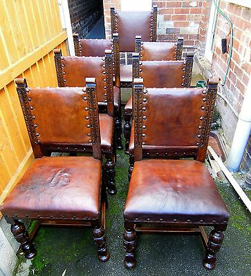 Vintage Set Of 7 (1 Carver) Leather  Dining Chairs In Gothic Style