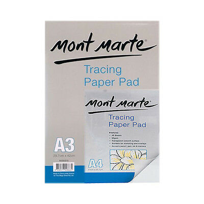 1pce Mont Marte Tracing Paper Pad 60gsm 40 Sheets, Tattooist Paper, A3 or A4