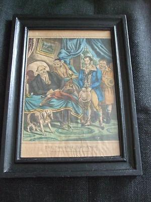 THE POACHERS CONVICTED HAND PAINTED ENGRAVING c1820 FRAMED