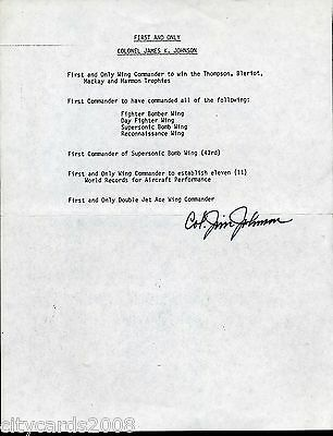 Sheet Signed by Col Jim Johnson  WW 2 US Fighter Ace /Achievement Details