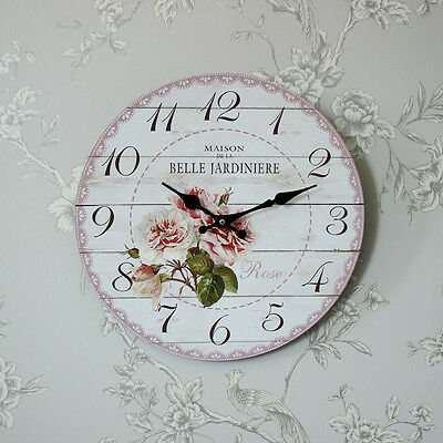 French floral rose wall clock shabby french chic country kitchen hall bedroom