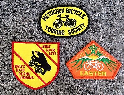 Vintage 1970s Lot of (3) Bike Bicycle Touring Cloth Patches Schwinn Columbia