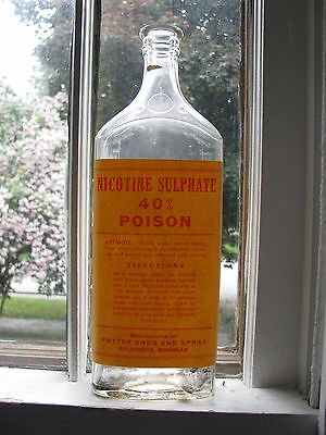 St. Joseph, Michigan Potter Pharmacy 32 Ounce bottle POISON Nicotine Sulphate