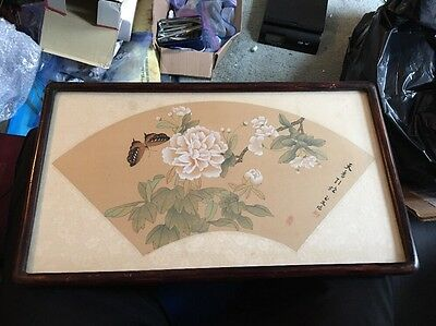 Fine Old Chinese Silk Art Painting Butterfly Rose Flowers Signed Framed