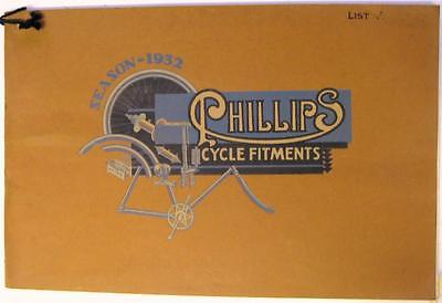 PHILLIPS Cycle Fitments Season 1932 List F Bicycle Spare Parts Catalogue