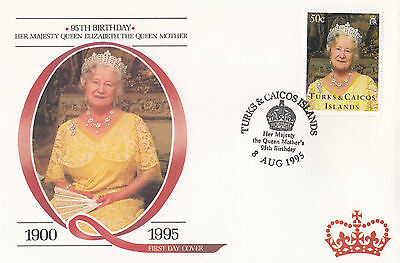 (94808) FDC Turks and Caicos Queen Mother 95th Birthday 8 August 1995