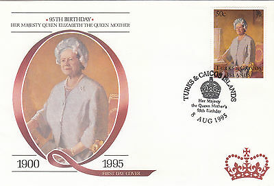 (94801) FDC Turks and Caicos Queen Mother 95th Birthday 6 July 1995