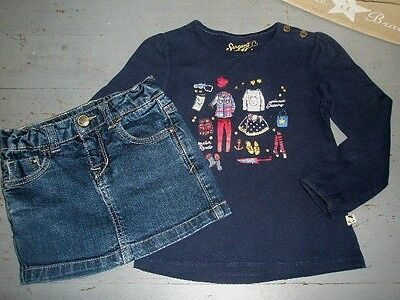 ++ SERGENT MAJOR & ZARA ++ 4 ans ++ Ensemble jupe jean + tee shirt ++ TBE