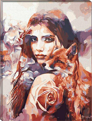 Painting by Number kit Beauty and Beast Lady Woman & Fox Wild Animal DIY HT7046