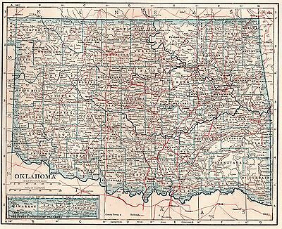 1923 Antique OKLAHOMA Map of Oklahoma State Map Gallery Wall Art 3239