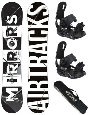 Snowboard Set AIRTRACKS Midnight Rocker Carbon Wide+Bindung+Bag+Pad/152 157 159/