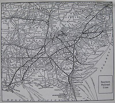 1923 Antique SOUTHERN RAILROAD Map Vintage Southern Railway Map 3247