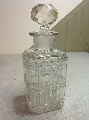 Free Shipping!! Vintage Antique Clear Glass Crystal Decanter W/ Stopper