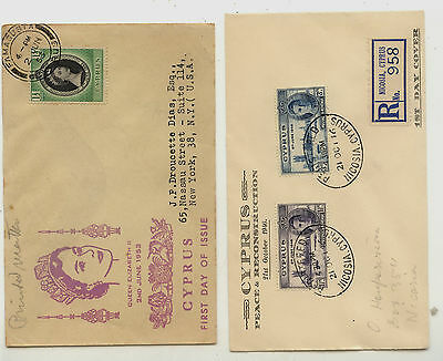Cyprus   2  nice  cachet  covers  one  registered          MS0629
