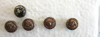 1887 QUEEN VICTORIA GOLDEN JUBILEE x 5 SMALL BUTTONS COLLECTABLE SOUVENIRS