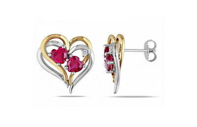 Heart Earrings 925 Silver - 18ct White & Yellow Gold Ruby CZ Wife Mum Love Gift