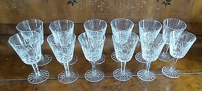 """Lot (12) Waterford Crystal White Wine Lismore Glasses All Pristine 6""""h"""