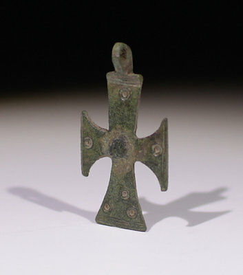 Lovely Medieval Decorated Bronze Cross Circa - 14Th Century Ad