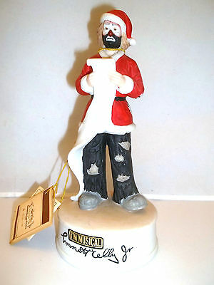 Emmett Kelly Jr Hobo Clown Santa Claus Musical Porcelain Figurine WITH TAGS,