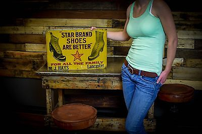 Original 1900'S STAR BRAND SHOES EMBOSSED TIN GENERAL STORE SIGN Early Americana