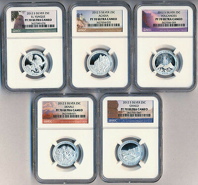 2012-S PF70 ULTRA CAMEO SILVER National Parks 5 Coin Set