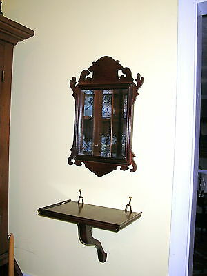 Williamsburg Style Chippendale Mirror And Bracket Shelf