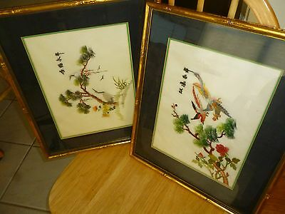 2 larger Chinese Pith Rice Paper Paintings in excellent cond