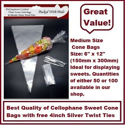 CLEAR - MEDIUM SIZE - 16cm x 30cm Cellophane Cone Sweet Bags - Party Bags