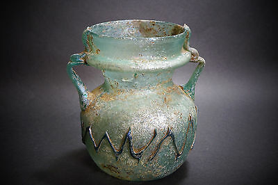 *Aphrodite Gallery* ROMAN TWIN HANLDED FLASK w/ TRAIL PATTERN, 3rd-4th Cent A.D. • CAD $3,035.64