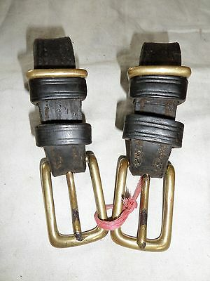 Pair Of English Leather Driving Tugs Brass Buckles Used Condition
