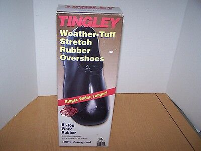 TINGLEY 1300 Overshoes, Mens, XL, Pull On Black Rubber 1 Pr NEW