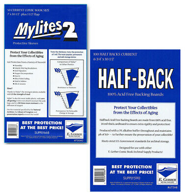100 - GERBER HALF-BACK & MYLITES 2 CURRENT Comic Mylar Bags & Boards 675HB/700M2