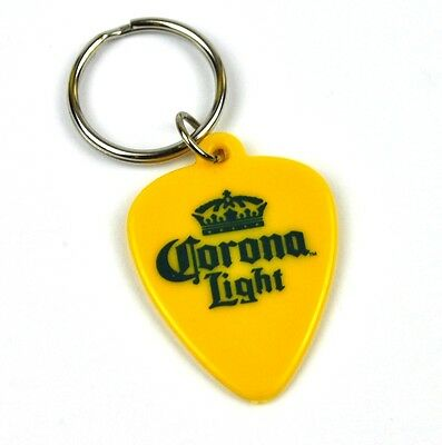 Corona Light Bier USA Schlüsselanhänger Plektrum Guitar Pick Key Ring gelb