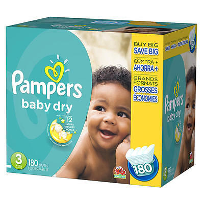 Pampers Baby Dry Size 3 Disposable Diapers Super Economy Pack - 180 Count