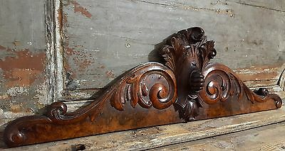 PEDIMENT COAT OF ARMS ANTIQUE FRENCH HAND CARVED WOOD IMPROVEMENT CHATEAU 19th • CAD $139.06