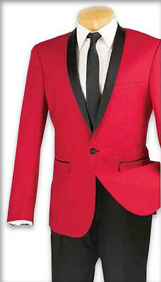 Red Holiday Zegna Slim Fit Shawl Tuxedo Jacket and Black Pants by Vinci