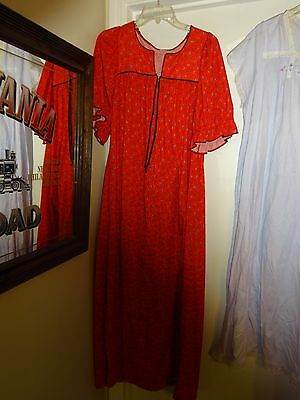 R Michael Alan Red With Blue Flowers Long Gown Nightgown Sleepwear Medium