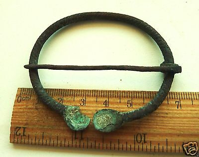 Authentic Ancient  MEDIEVAL ARTIFACT -  Bronze Fibula (k089)