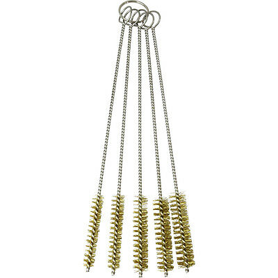"HTS G5-101 5 Pc 7.5"" Brass Wire Bristle Tobacco Pipe / Gun Cleaning Brush Set"