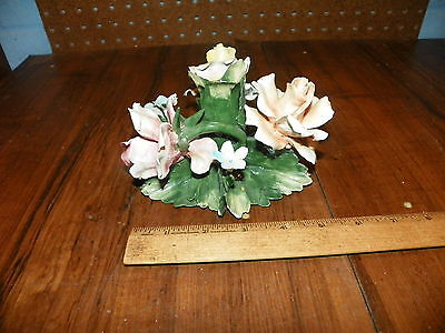 Vintage CAPODIMONTE Ceramic Flowers Candle Holder - Made In Italy              +