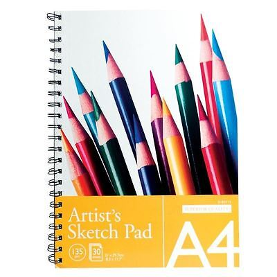 A4 Spiral Bound Artist Sketch Drawing Painting Books Pads 135Gsm 30 Sheets