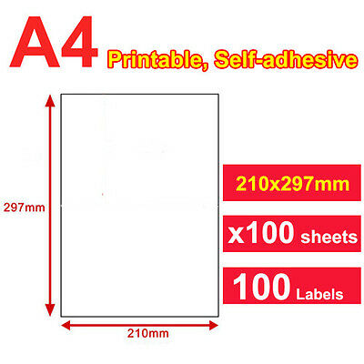100 Sheets 1 up 210 x 297mm Peel & Paste Label A4 Office Mailing Address labels