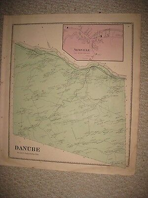 Antique 1868 Danube Newville Herkimer County New York Handcolored Map Superb Nr