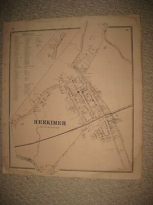 Antique 1868 Herkimer City Herkimer County New York Handcolored Map Railroad Nr