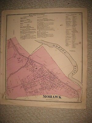 Fine Antique 1868 Mohawk Herkimer County New York Handcolored Map Rare Superb Nr